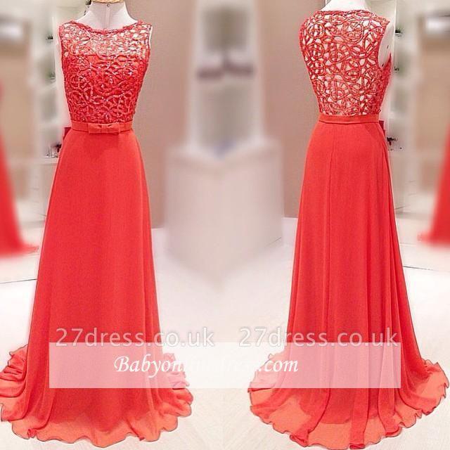 Lace Luxury Long Chiffon Crystal Sleeveless Evening Dress UK