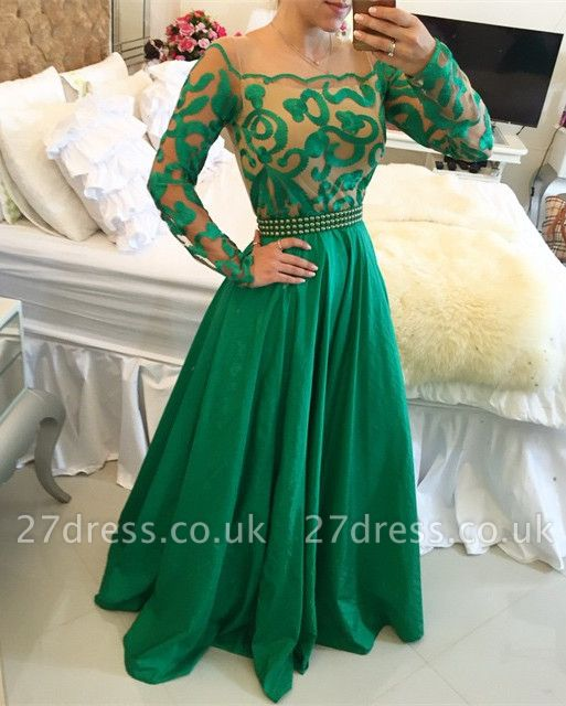 Beautiful Green Long Sleeve Prom Dress UK A-Line With Pearls BT0