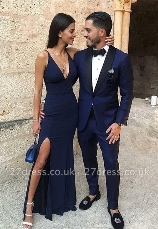Sexy V-Neck Long Prom Dress UK Split Long On Sale BA7459