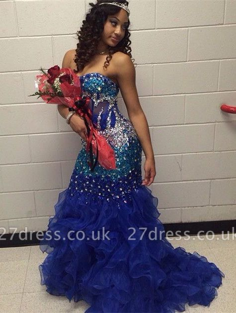 Modern Strapless Royal Blue Prom Dress UKes UK Crystal Organza Mermaid Party Gowns BK0