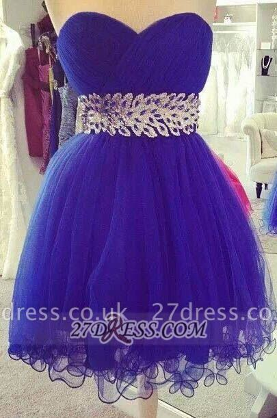 Elegant Sweetheart Sleeveless Short Homecoming Dress UK Zipper Beadings Crystals Cocktail Gown