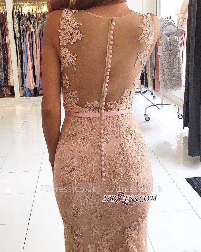 Mermaid Long Lace Elegant Pink Evening Dress UKes UK BH354