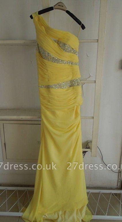 New Gorgeous Yellow Evening Dress UKes UK One Shoulder Long Beading Chiffon Prom gowns