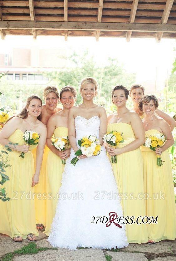 Floor-length Sexy Yellow Sweetheart Chiffon Bridesmaid Dress UK