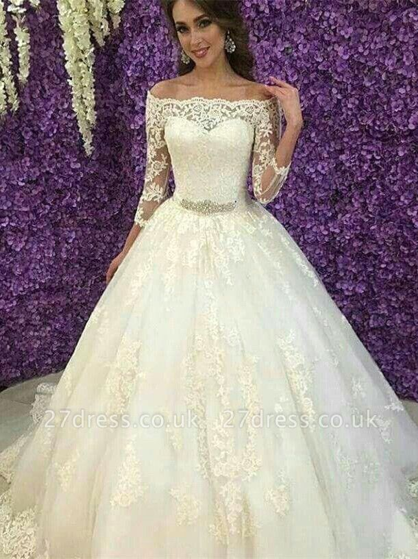 Princess Off-the-Shoulder Long Sleeve Wedding Dress Lace Tulle