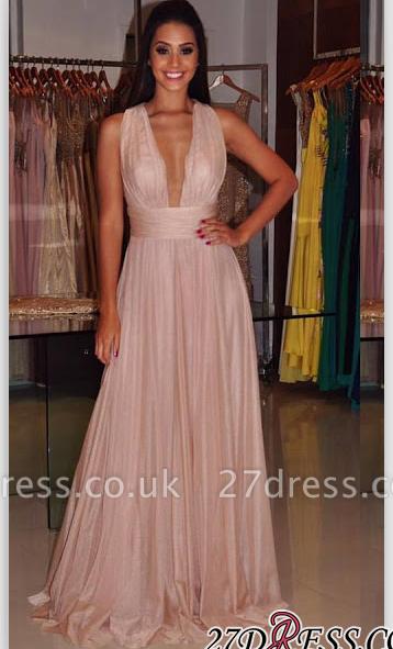 Cross-Back Length Elegant Deep-V-Neck Sheath Floor Prom Dress UK