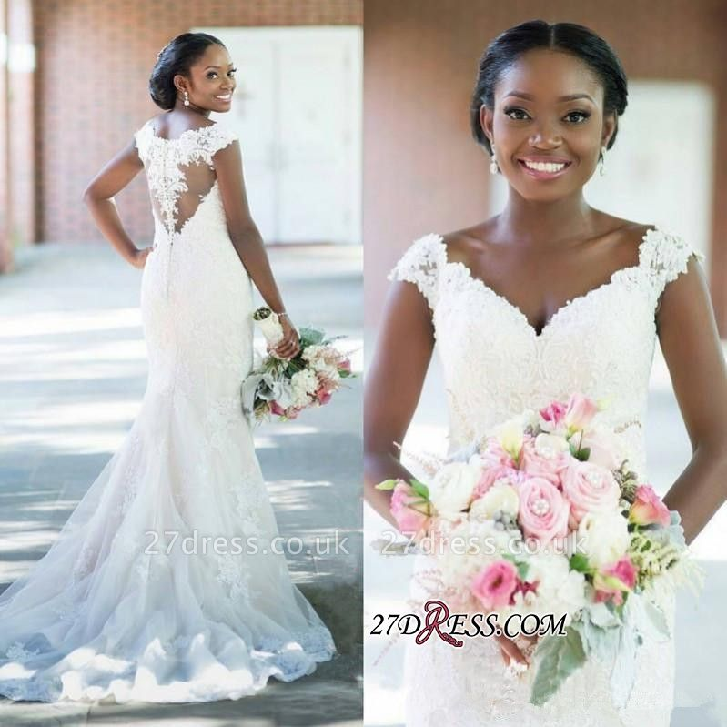 Sheath Elegant Tulle Lace  V-neck Sleeveless Long-Train Wedding Dress