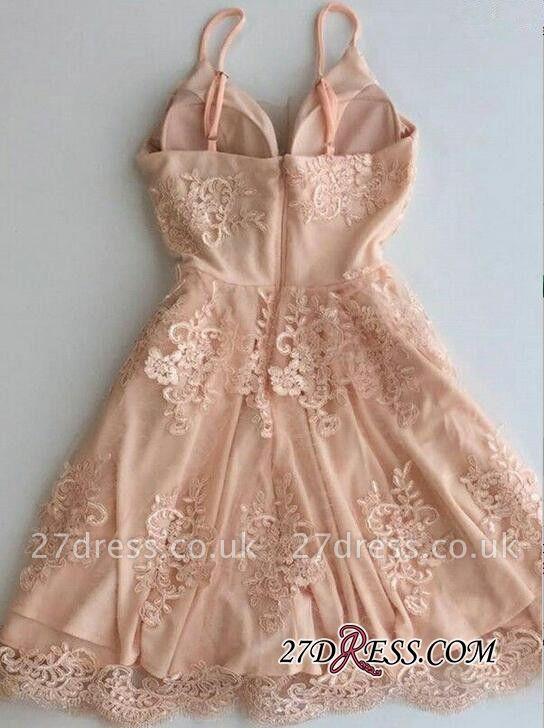 Sleeveless Zipper Lace Spaghetti-Strap Short Cute Homecoming Dress UK