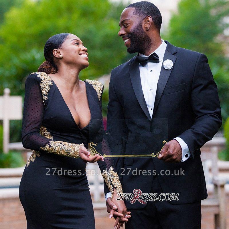 Black prom Dress UK, long sleeve evening Dress UK BK0 BA8839
