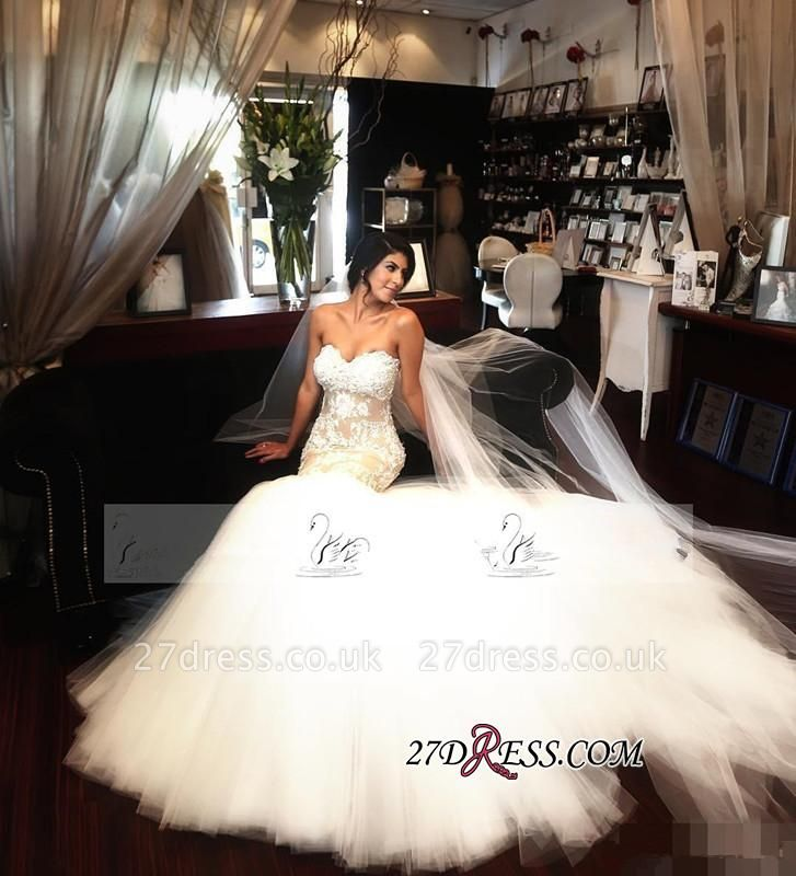 Lace-Appliques Tulle Sleeveless Sweetheart Sexy Mermaid Delicate Wedding Dress