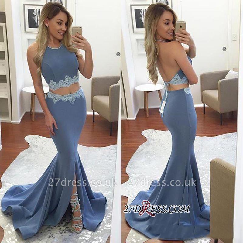 Elegant Halter Front-Split Mermaid Backless Two-Pieces Appliques Prom Dress UK BA4779