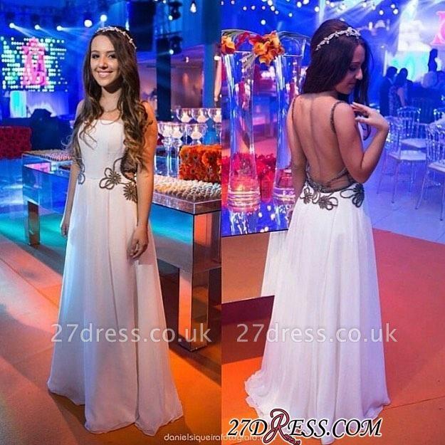 Chic Backless White A-line Floor-length Evening Dress UK