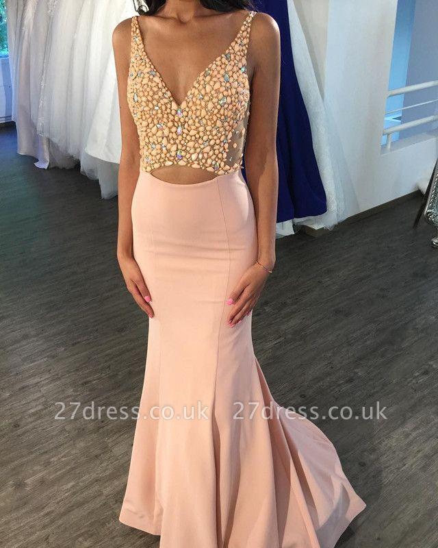 Elegant V-Neck Sleeveless Mermaid Prom Dress UK Floor Length On Sale