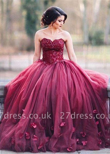 Newest Sweetheart A-line Evening Dress UK Sleeveless Flowers SP0051