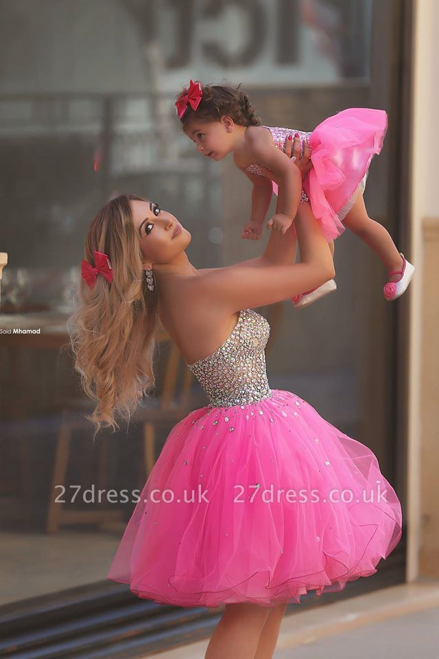 Gorgeous Sequins Tulle Short Mother And Daughter Dress UK Sweetheart BA3116