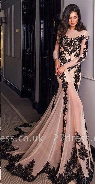 Gorgeous Long Sleeve Black Lace Evening Dress UK Mermaid Lace-up Back BA4265