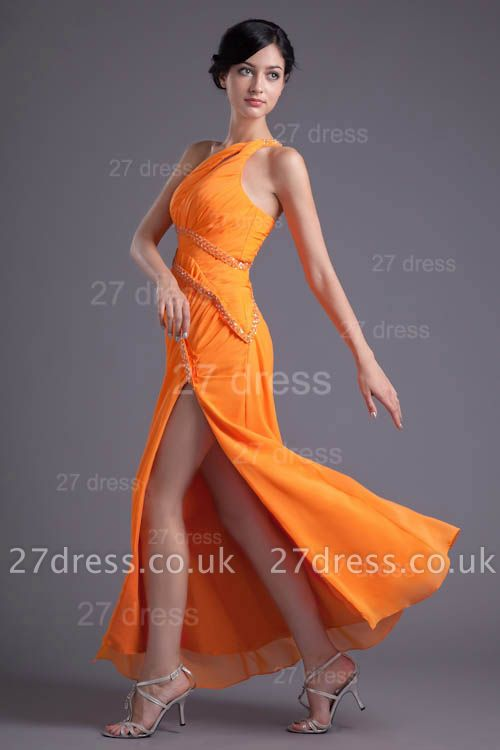 Elegant Chiffon Front Split Evening Dress UK Mermaid One Shoulder