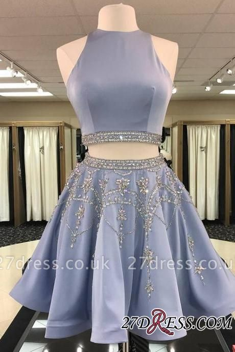 Short Crystal Two-Pieces A-line Sleeveless Luxury Homecoming Dress UK