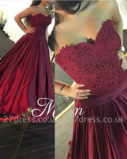 Luxury Sweetheart Lace prom Dress UK Burgundy Floor Length