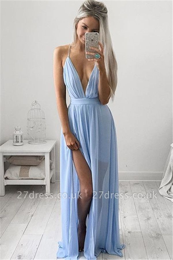 Sexy V-Neck Long Prom Dress UK Chiffon Floor Length