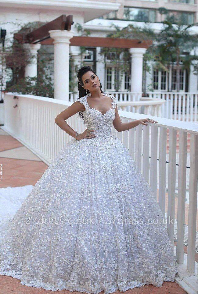Elegant Cap Sleeve Lace Wedding Dresses UK Ball Gown With Train  BA3022