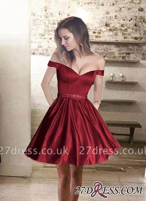 Bead-Sash Glossy Off-the-Shoulder A-line Burgundy Homecoming Dress UKes UK