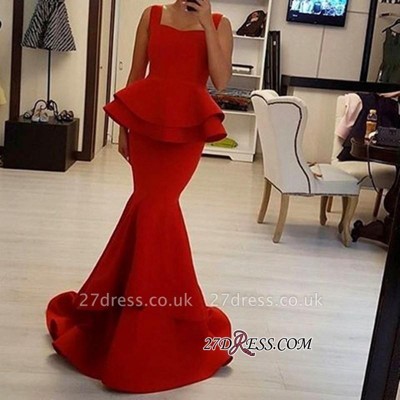 Straps Square Elegant Ruffles Mermaid Red Prom Dress UK BA4149