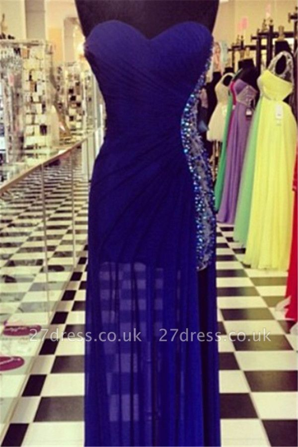 Elegant Navy Blue Sweetheart Prom Dress UKes UK Beadings Long Chiffon Party Gowns