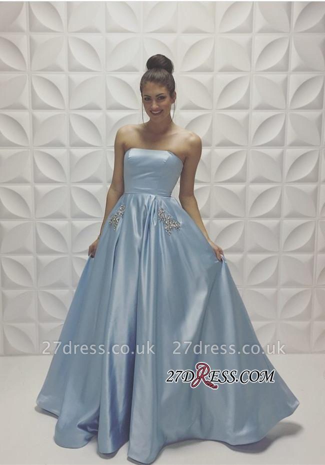 Beads Strapless Sleeveless Baby-Blue A-line Newest Prom Dress UK