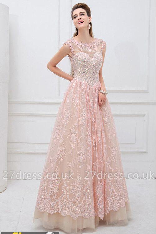 Sleeveless Amazing Beadings Lace Appliques Long prom Dress UK Floor length