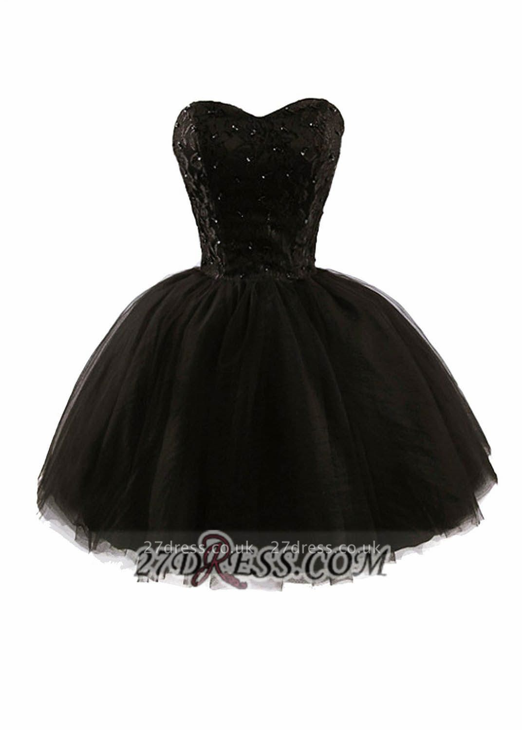 Modern Sweetheart Sleeveless Black Cocktail Dress UK Lace-up Beading Sequins Ball Gown Short Homecoming Gown