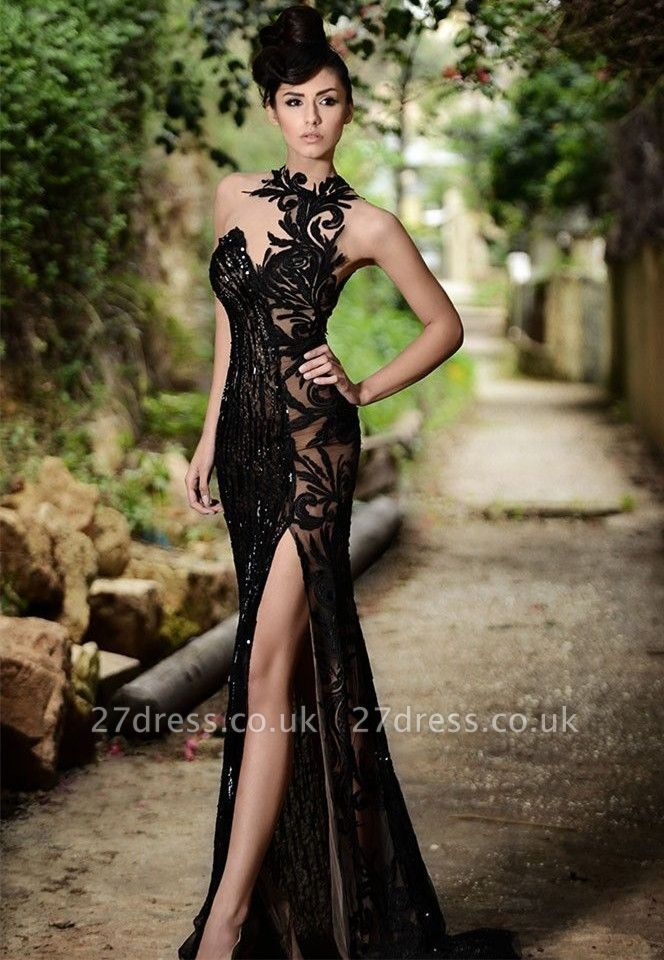 Elegant Black Prom Dress UK| Mermaid Evening Dress UK With Slit