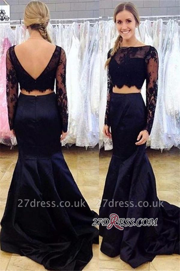 Open-Back Black Two-Piece Lace Mermaid Long-Sleeve Bateau Prom Dress UK