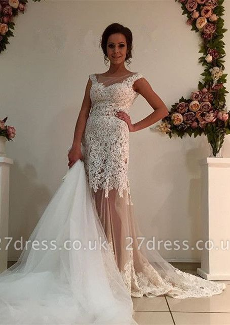 Gorgeous Lace Tulle Wedding Dress Removal Train Cap Sleeve Illusion