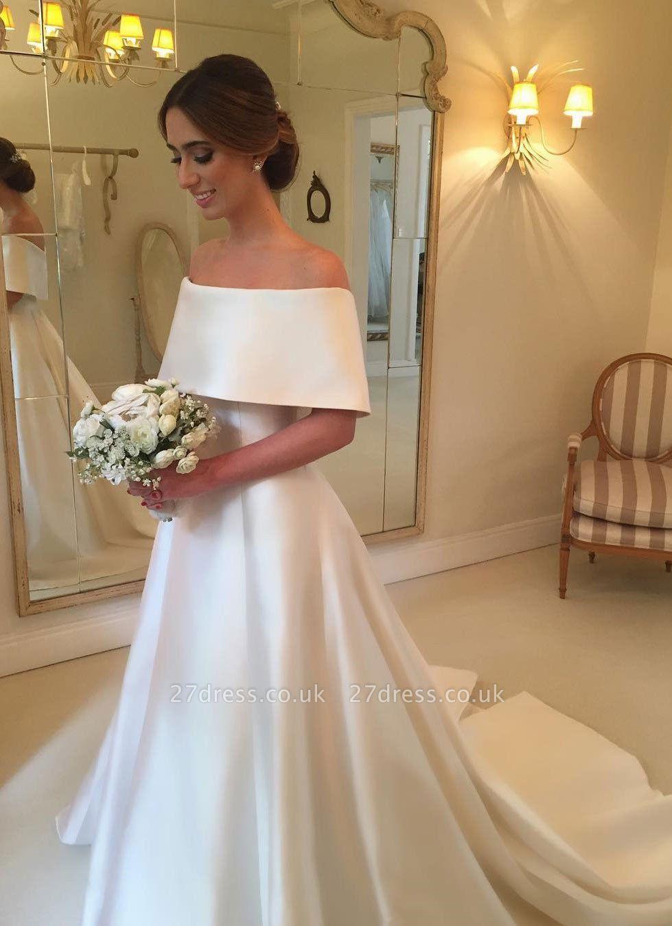 Simple White Off-the-shoulder A-line Wedding Dress | Elegant Bridal Gown