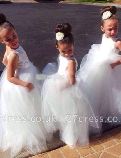 Lovely Tulle Princess Jewel Flower Girl Dress Floor-length