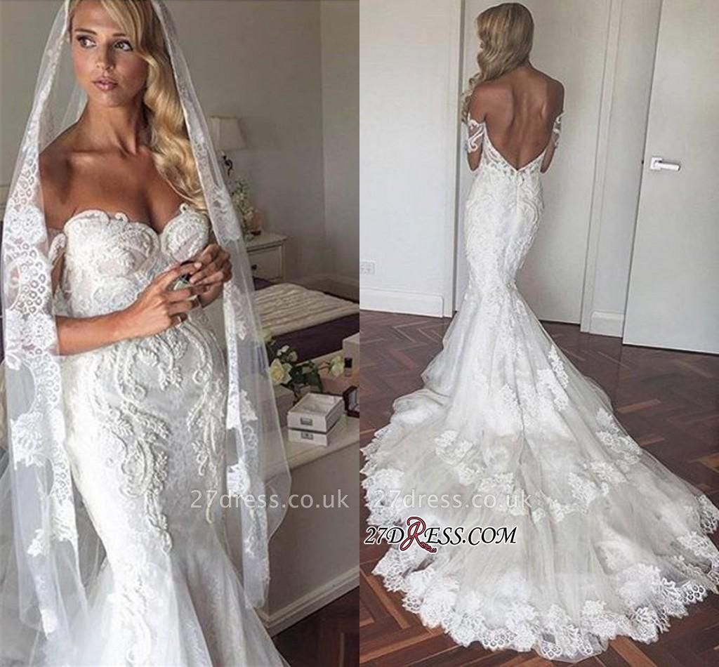 Tiered Backless Tulle Off-the-Shoulder Sexy Mermaid Appliques Elegant Wedding Dress