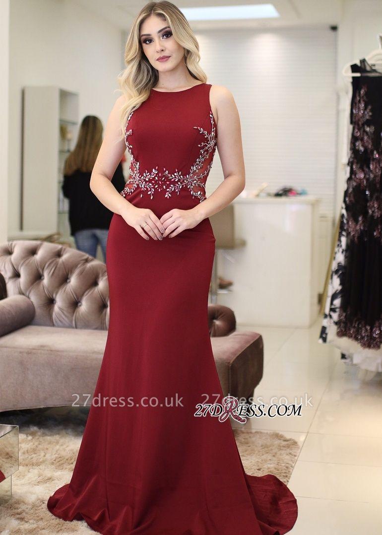 Red prom Dress UK, mermaid evening Dress UK with beads