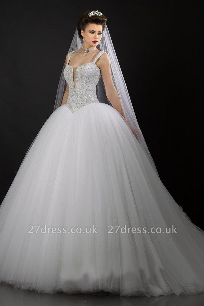 Modern V-neck Tulle Ball Gown Wedding Dress Sequins Beadss