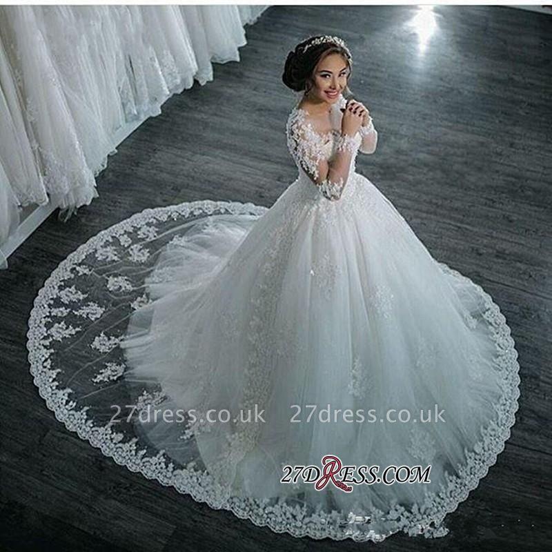Ball-Gown Beaded Lace Sheer Long-Sleeves Wedding Dresses UK BA4150