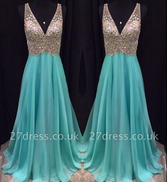 Sexy V-Neck Sleeveless crystal Prom Dress UKes UK Long chiffon Online TD055 AP0