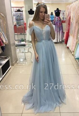 A-line Beautiful Straps Cap-Sleeves Sweep-train Tulle Prom Dress UK