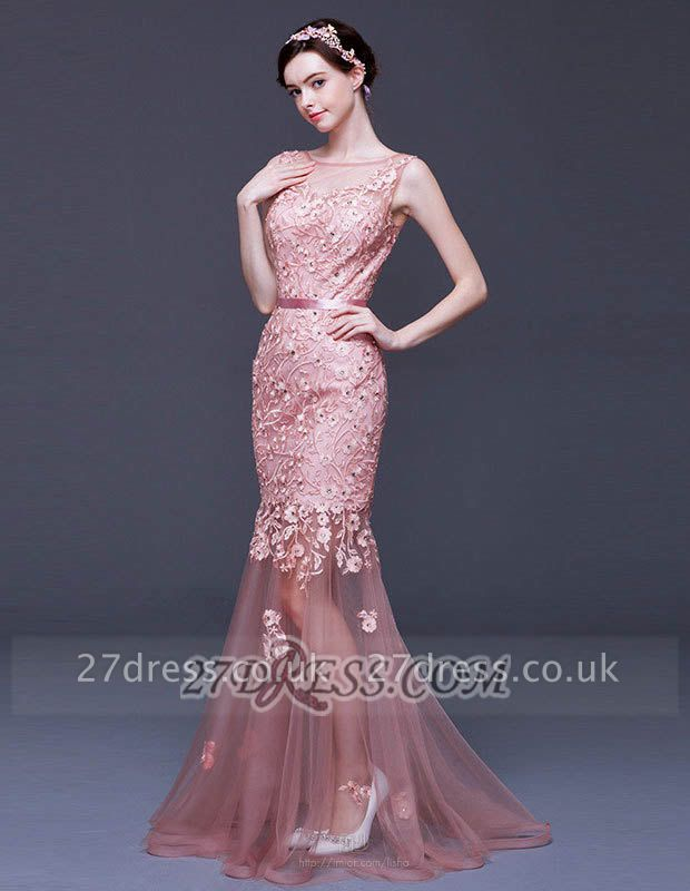 Luxury Beadings Appliques Mermaid Prom Dress UK Lace-Up Sleeveless Evening Gowns
