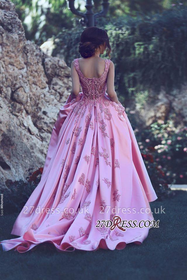 A-Line Pink Sleeveless Appliques Court-Train Gorgeous Prom Dress UK qq0228