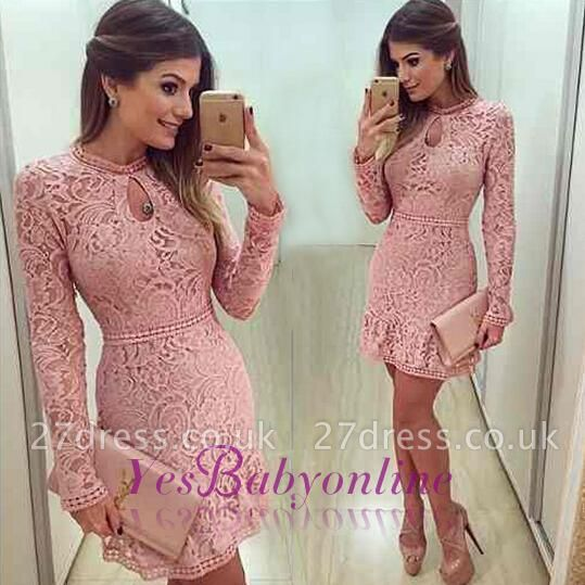Neckline Short Sleeves A-line Lace Scoop Pink Long Prom Dress UK BA4047