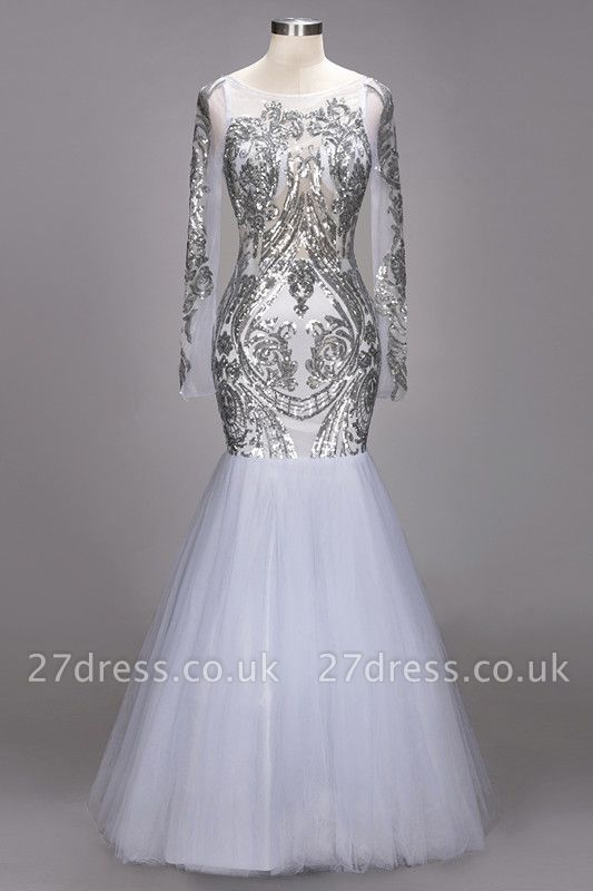 Long Sleeve Prom Dress UK | Sequins Evening Gown