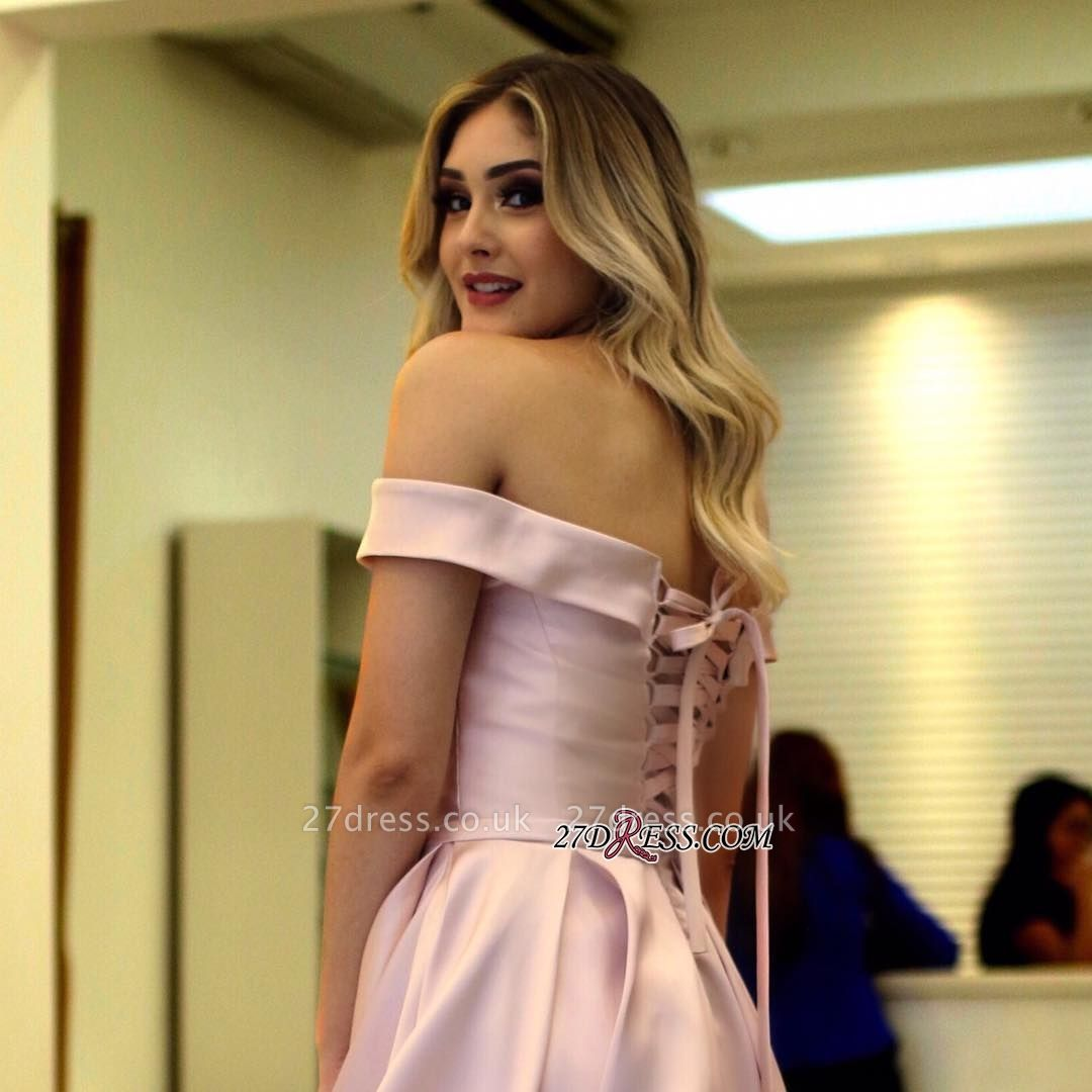 Pink lace-up prom Dress UK,evening gowns