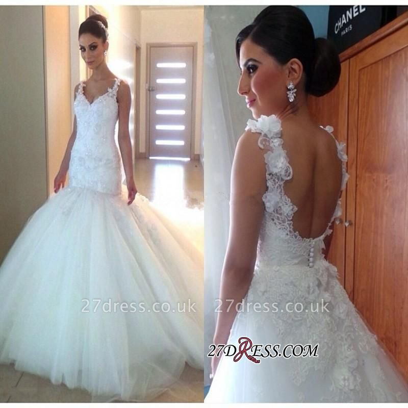 Elegant Open-Back Tulle Sexy Mermaid Appliques V-Neck Buttons Wedding Dress
