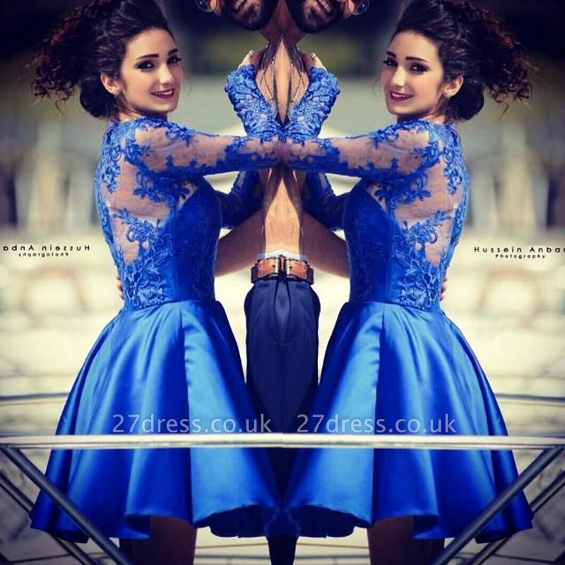Modern Jewel Royal Blue Homecoming Dress UK Long Sleeve With Lace Appliques