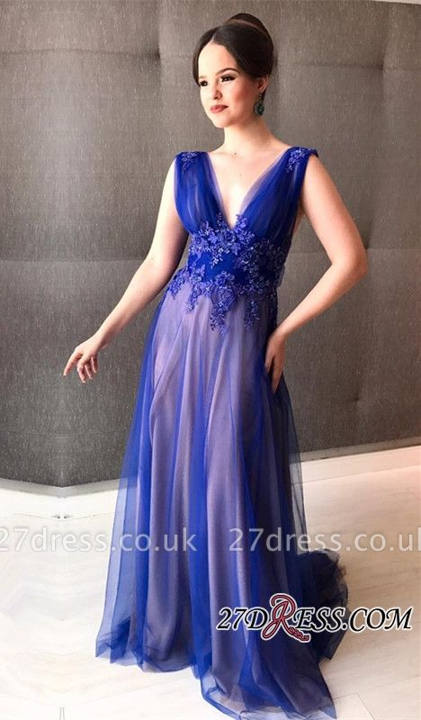 Royal blue prom Dress UK, tight tulle evening gowns